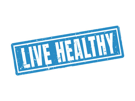 Live healthy in blue stamp style, white background