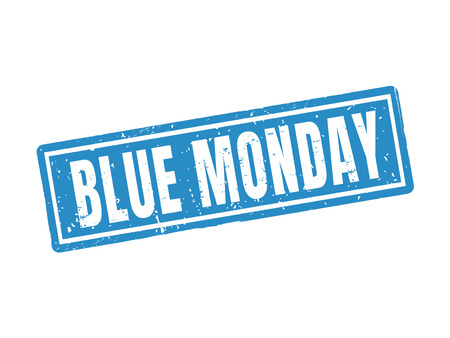 Blue monday in blue stamp style, white background Illustration