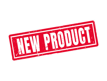 new product in red stamp style, white background