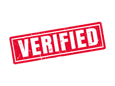 Verified in red stamp style, white background