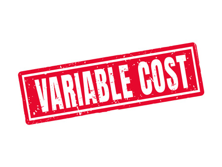Variable cost in red stamp style, white background