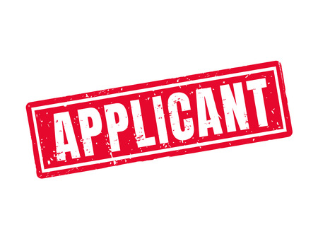 Applicant in red stamp style, white background