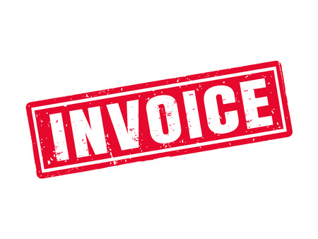 accounts payable: Invoice in red stamp style, white background