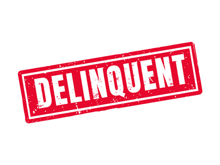 Delinquent in red stamp style, white background