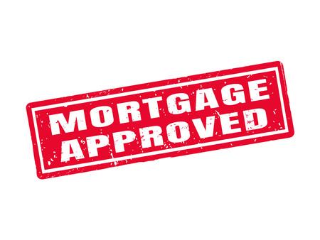 白い背景の赤いスタンプ スタイルで承認された住宅ローン  イラスト・ベクター素材
