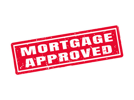 Mortgage approved in red stamp style, white background