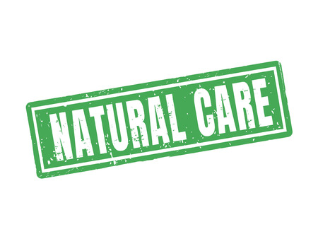 Natural care in green stamp style, white background