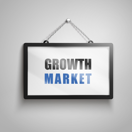 Growth market text on hanging sign, isolated gray background 3d illustration