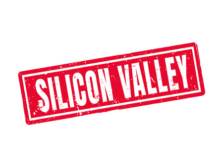 silicon valley in red stamp style, white background