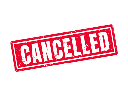 cancelled in red stamp style, white background Illustration