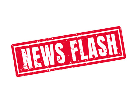 news flash in red stamp style, white background Ilustração
