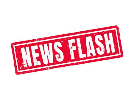 nieuwsflits in rode stempelstijl, witte achtergrond Stock Illustratie