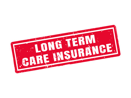 long term care insurance in red stamp style, white background