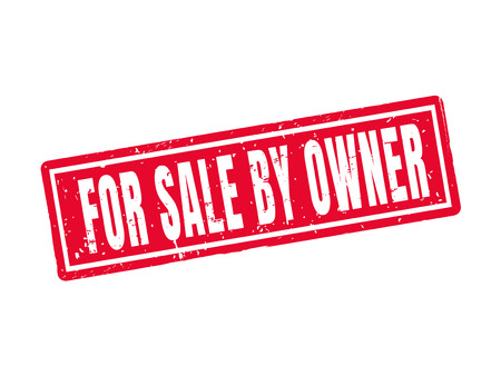 for sale by owner in red stamp style, white background