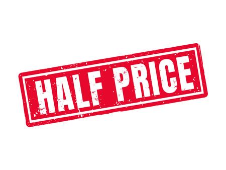 Metà prezzo in stile timbro rosso, sfondo bianco Archivio Fotografico - 78180118