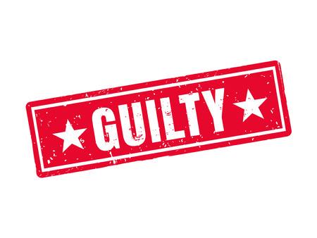 guilty in red stamp style, white background