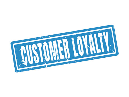 customer loyalty in blue stamp style, white background Иллюстрация