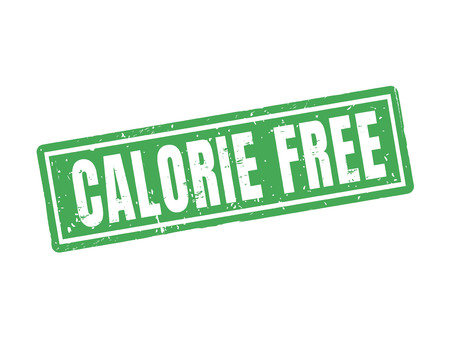 calorie free in green stamp style, white background