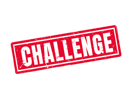 challenge in red stamp style, white background