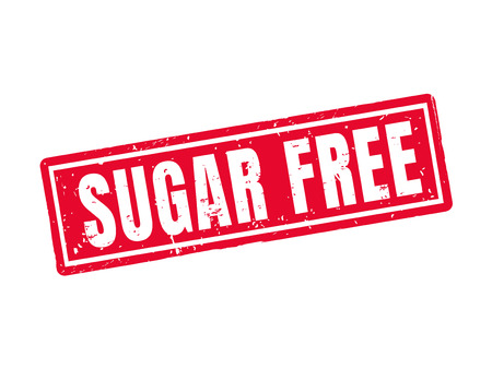 sugar free in red stamp style, white background