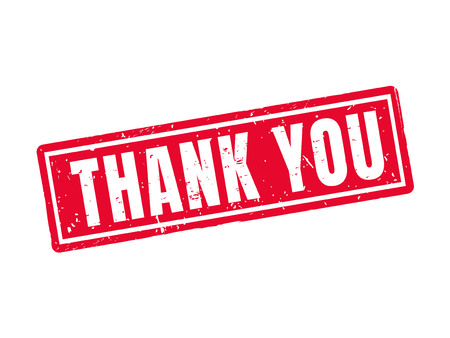 thank you in red stamp style, white background