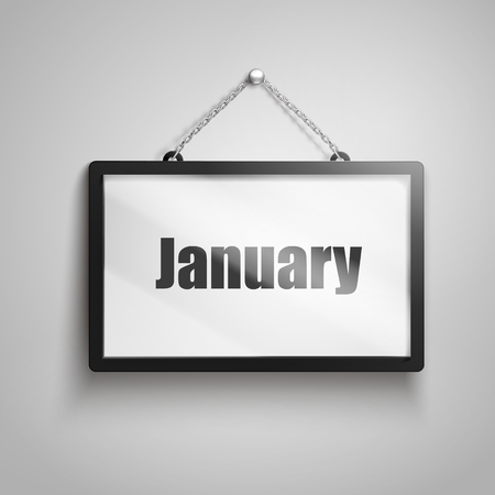 January text on hanging sign, isolated gray background 3d illustration