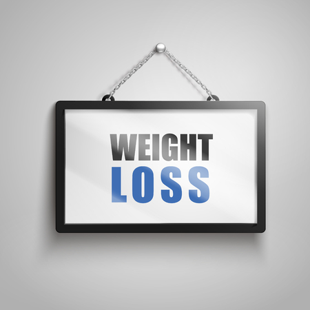 Weight loss text on hanging sign, isolated gray background 3d illustration Stock Vector - 78257471