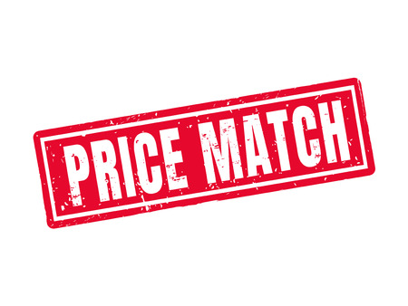 Price match in red stamp style, white background