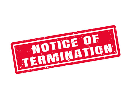 Notice of termination in red stamp style, white background