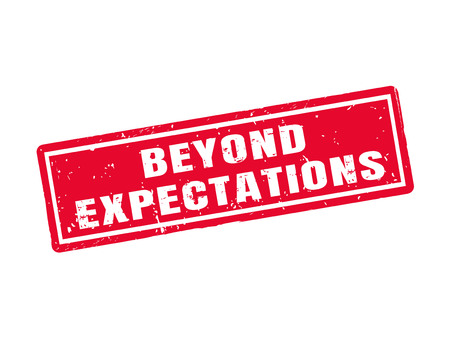 exceeding: Beyond expectations in red stamp style, white background