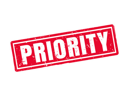 Priority in red stamp style, white background