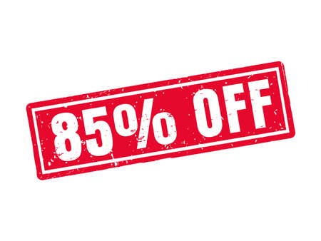 85 percent off in red stamp style, white background