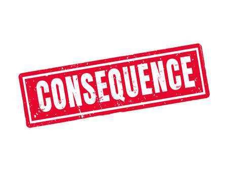 Consequence in red stamp style, white background