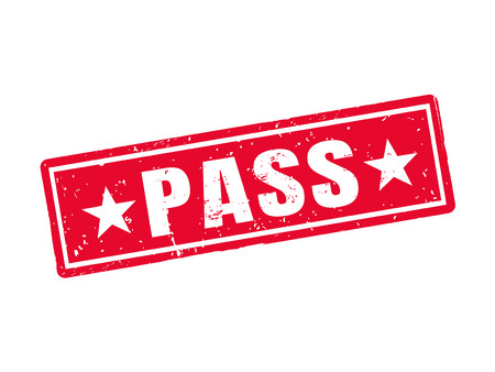 Pass in red stamp style, white background Ilustração