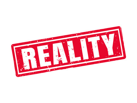 Reality in red stamp style, white background Ilustrace