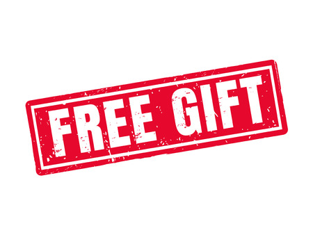 free gift in red stamp style, white background