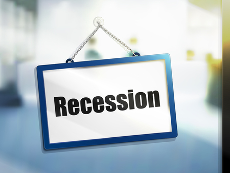 disaster: recession text on hanging sign, isolated bright blur background, 3d illustration