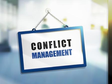 conflict management tekst op hangende teken, geïsoleerde heldere wazige achtergrond, 3d illustratie