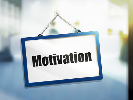 motivation text on hanging sign, isolated bright blur background, 3d illustration Illustration