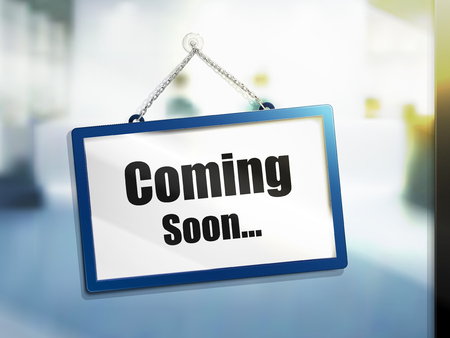 coming soon text on hanging sign, isolated bright blur background, 3d illustration