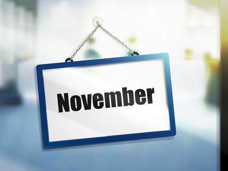 next year: November text on hanging sign, isolated bright blur background, 3d illustration Illustration