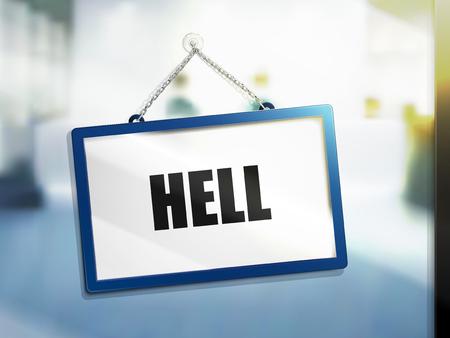 地獄の壁掛け 5532-7042、明るい分離されたテキストぼかしの背景、3 d イラストレーション
