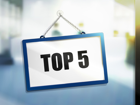 top 5 text on hanging sign, isolated bright blur background, 3d illustration