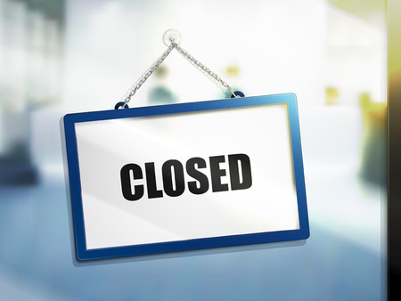 closed text on hanging sign, isolated bright blur background, 3d illustration 向量圖像