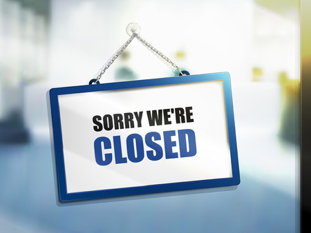 sorry we are closed text on hanging sign, isolated bright blur background, 3d illustration