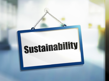 sustainability text on hanging sign, isolated bright blur background, 3d illustration Çizim
