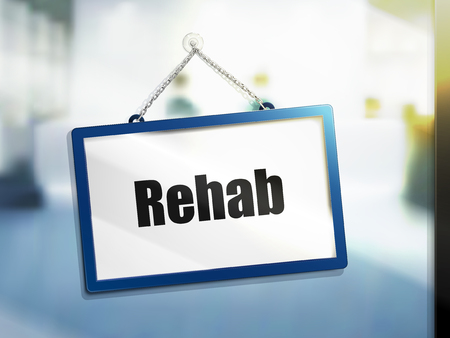 rehab text on hanging sign, isolated bright blur background, 3d illustration Çizim