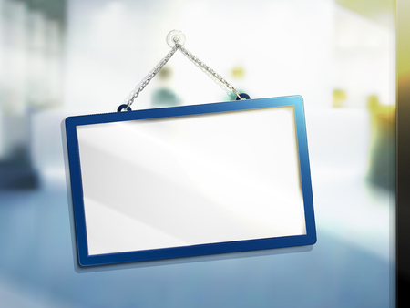 hanging sign with no words, isolated bright blur background, 3d illustration