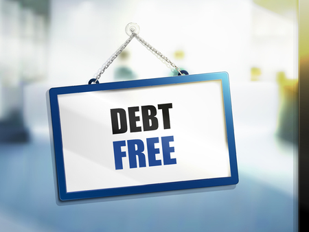 debt free text on hanging sign, isolated bright blur background, 3d illustration