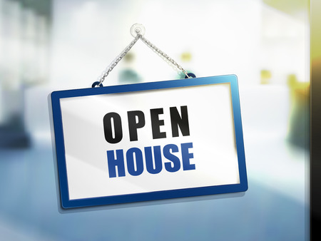 open house text on hanging sign, isolated bright blur background, 3d illustration